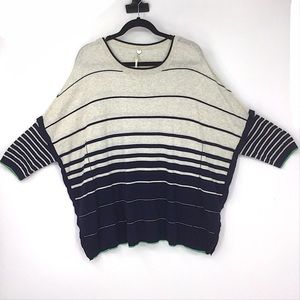 Margaret O'Leary Striped Sweater Small Blue Cream